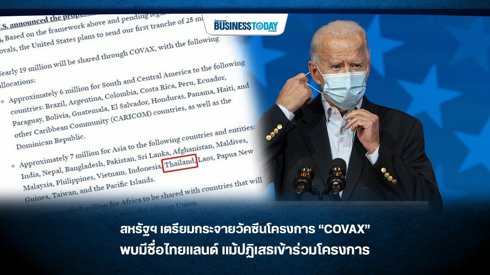 """สหรัฐฯ เตรียมกระจายวัคซีนโครงการ """"COVAX"""" พบมีชื่อไทยแลนด์ แม้ปฏิเสธเข้าร่วมโครงการ"""