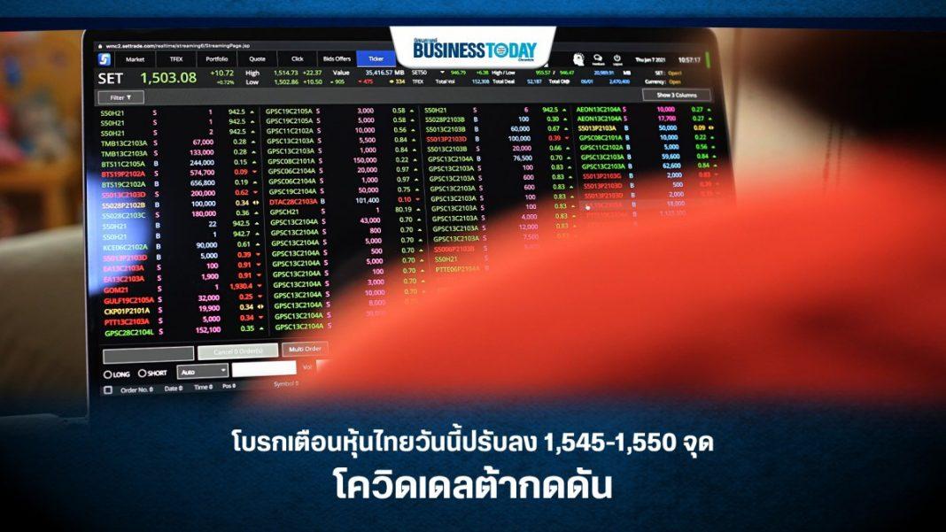 โบรกเตือน หุ้นไทยวันนี้ ปรับลง 1,545-1,550 จุด โควิดเดลต้ากดดัน