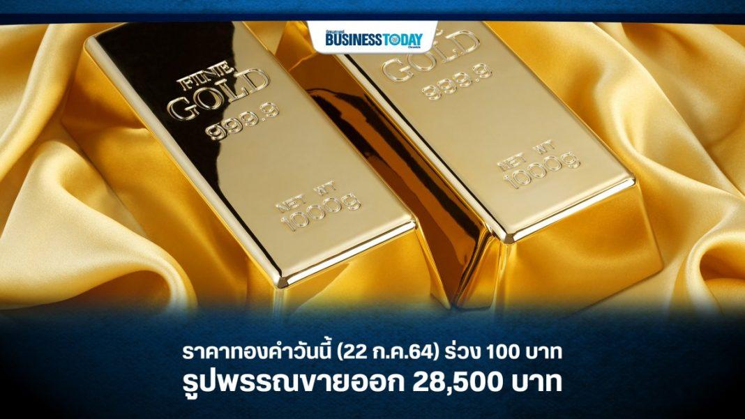 ราคาทองคำวันนี้ (22 ก.ค.64) ร่วง 100 บาท รูปพรรณขายออก 28,500 บาท