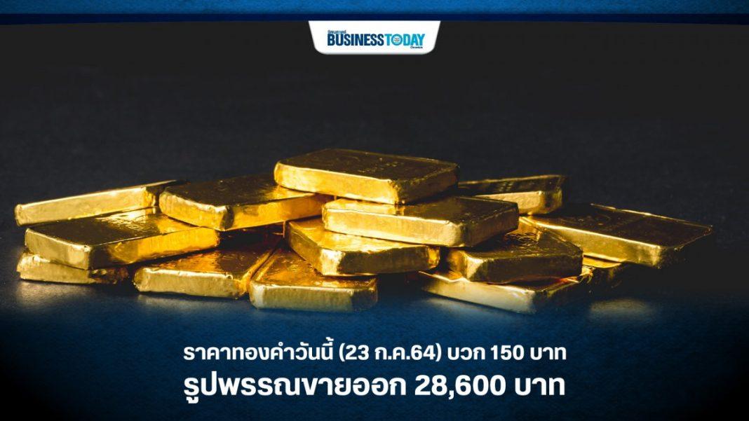 ราคาทองคำวันนี้ (23 ก.ค.64) บวก 150 บาท รูปพรรณขายออก 28,600 บาท